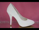 Свадебные туфли маленьких размеров айвори перламутр круглый мыс средний каблук шпилька выбитая кожа
