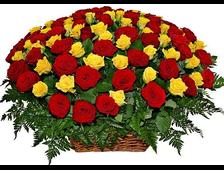 Корзина роз Шикарная 101 красная и желтая роза