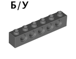 ! Б/У - Technic, Brick 1 x 6 with Holes, Dark Bluish Gray (3894 / 3894199 / 4210917) - Б/У
