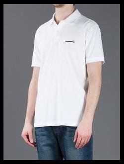 Поло Fendi, однотонная с логотипом, цвет белый