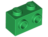 Brick, Modified 1 x 2 with Studs on 1 Side, Green (11211 / 6129807)
