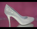 Свадебные туфли айвори перламутр круглый мыс средний каблук шпилька украшены сверкающими стразами