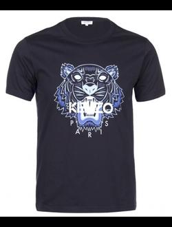 Футболка KENZO хлопковая с принтом «ТИГР», цвет темно-синий
