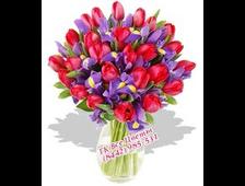 Ирисы с красными Тюльпанами букет (51 цветок)