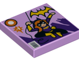 Tile 2 x 2 with Batgirl Comic Book Cover with Yellow Bat Logo, '1', and Bar Code Pattern, Lavender (3068bpb1059 / 6174091)