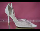 Свадебные белые открытые туфли с закрытым носиком и пяткой острый мыс кожаные средний каблук №647=300
