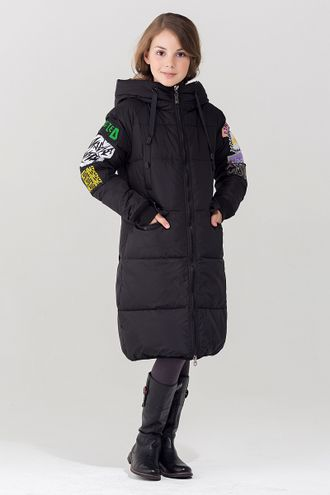 Jan Steen Парка для девочек био-пух  H1101  (черный) front