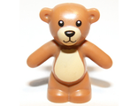 Teddy Bear with Black Eyes, Nose and Mouth and Tan Belly and Muzzle Pattern, Medium Dark Flesh (98382pb001 / 4652796 / 6055832)