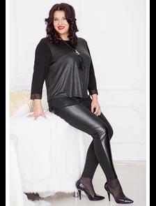 Брюки с кожаными вставками 457-Lux (черный) Размерный ряд: 52-66. Лакшери плюс
