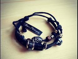 Мужской кожаный браслет панк-рок mp-80