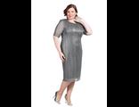 """Изысканое платье """"КРУЖЕВО"""" Арт. 414050 (Цвет серебристый)  Размеры 52-62"""