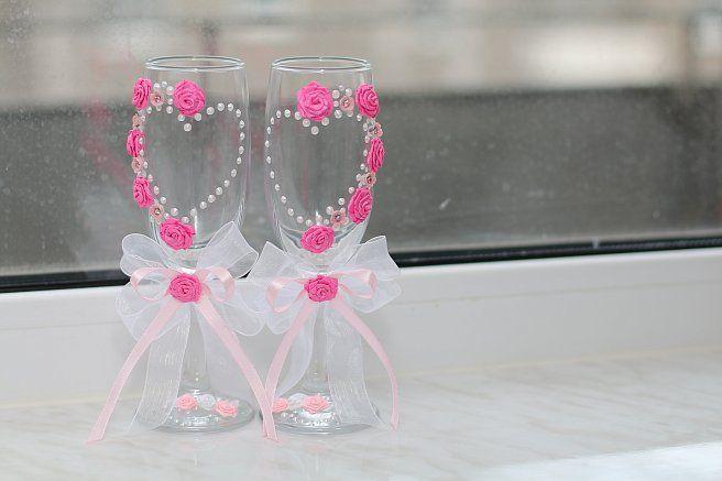 Свадебные бокалы цветы из атласных лент своими руками