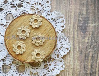 Набор вязаных цветочков (бежевый)