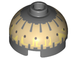 Brick, Round 2 x 2 Dome Top with Black Spots on Tan Pattern Buzz Droid, Dark Bluish Gray (553pb019 / 6058942)