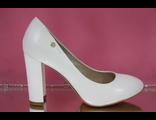 Свадебные туфли цвет белый круглый мыс высокий широкий каблук кожа купить магазин интернет в Москве