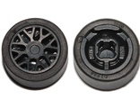 Wheel 11mm D. x 6mm with 8 'Y' Spokes with Black Tire 14mm D. x 6mm Solid Smooth (93595 / 50945), Black (93595c01)