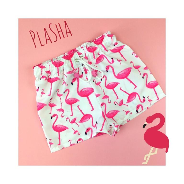 """Арт. 11015 Шорты пляжные для девочек """"Фламинго"""""""