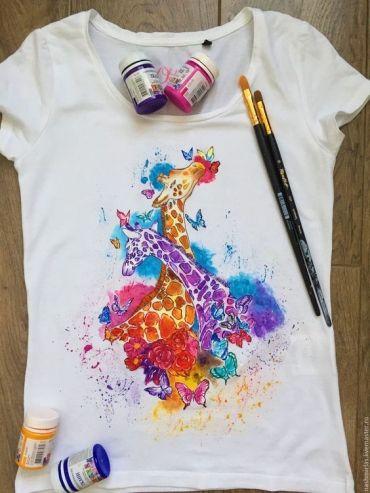 Рисунки на футболках акрилом