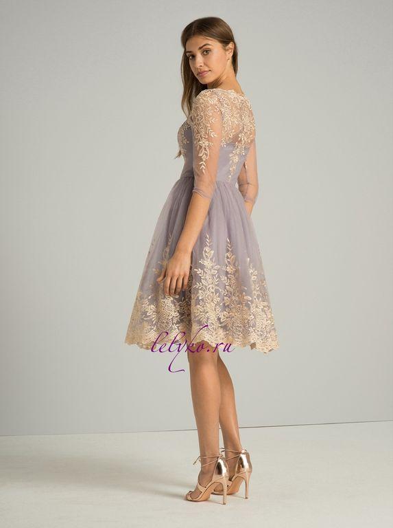 a090a90ea4f4 Лавандовое вечернее пышное выпускное платье до колена с золотой вышивкой с  рукавами 3 4