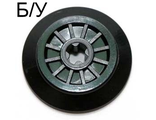! Б/У - Train Wheel RC Train, Spoked with Technic Axle Hole and Rubber Friction Band, Black (55423c01 / 4289864 / 4582034 / 4621116) - Б/У