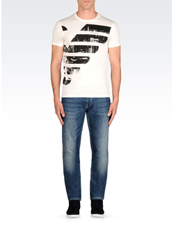 Футболка Armani Jeans из хлопкового джерси с рисунком, цвет белый