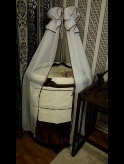 Круглая кроватка трансформер 6 в 1 - Венге