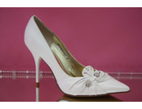 Распродажа свадебные туфли белые кожаные острый мыс украшены стразами серебренными шпилька средний каблук № 927=вол