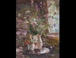 """Круглова Светлана """"Полевые цветы и земляника"""",  холст / масло,  40 х 30 см.,  2015 г."""