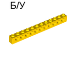 ! Б/У - Technic, Brick 1 x 12 with Holes, Yellow (3895 / 389524) - Б/У