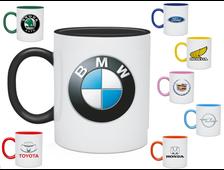 Кружка с логотипом авто (цветная внутри + ручка)