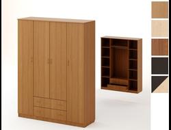 Шкаф распашной 4х створчатый с 2 ящиками (1600x2200x550)