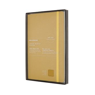 Блокнот Moleskine Leather (в линейку), Large, жёлтый