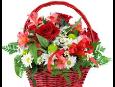 Корзина розы с Хризантемой Нежный Шелк