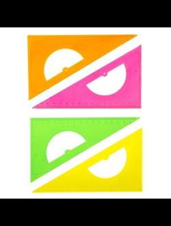 Треугольник 16 см 30* «Стамм» NEON Cristal, с транспортиром, отливная шкала, зеленый