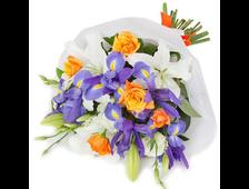 Букет из белых Лилий, Ирисов и роз