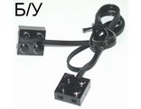 ! Б/У - Electric, Wire with Brick 2 x 2 x 2/3 Pair,  20 Studs Long, Black (5306bc020 / 4100355) - Б/У