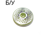 ! Б/У - Technic, Disk 3 x 3 with Disk Brake Silver Hub 5-Bolt Star with Holes-in-Line Pattern (Sticker) - Set 8646, Glow In Dark Trans (2958pb032) - Б/У