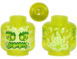 Minifigure, Head Alien Ghost with Yellowish Green Face, Bushy Eyebrows, Angry and Flames in Back Pattern - Vented Stud, Trans-Neon Green (28621pb0003 / 6300201)