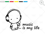 Наклейка Music is my life