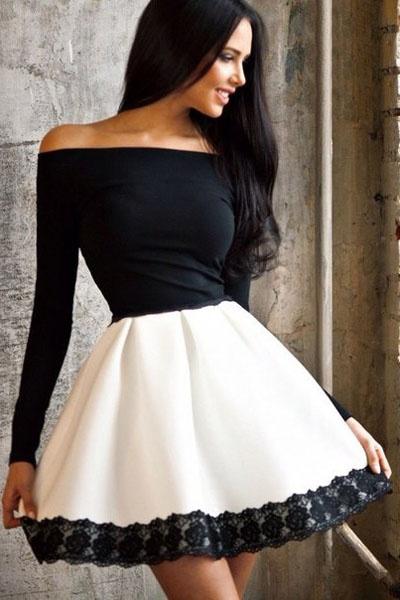 1829e7a65c9 Черно белое платье колокольчик - Модадром