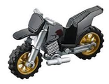 Motorcycle Dirt Bike, Complete Assembly with Flat Silver Chassis and Pearl Gold Wheels, Black (50860c04)