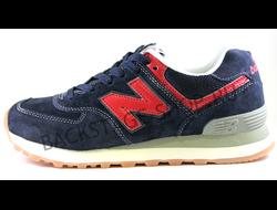 Женские кроссовки New Balance 574 Blue/Red замшевые