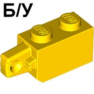 ! Б/У - Hinge Brick 1 x 2 Locking with 1 Finger Vertical End, Yellow (30364 / 3036424 / 4220284) - Б/У
