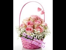 Нежная розовая корзина