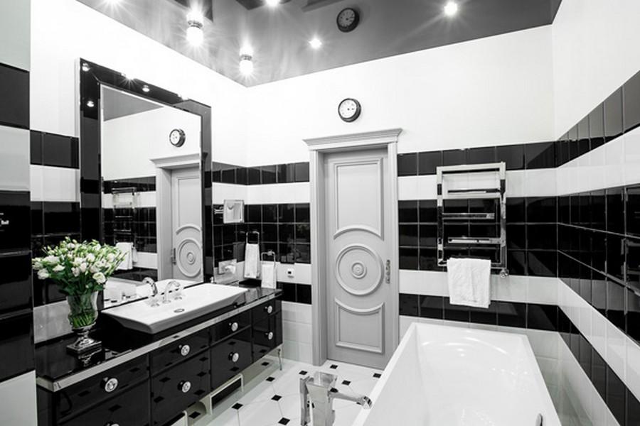 Дизайн черно белой ванной фото