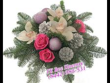 Новогодний букет с цветами