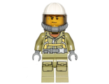 Volcano Explorer - Male Worker, Suit with Harness, Construction Helmet, Breathing Neck Gear with Yellow Airtanks, Trans-Black Visor, Sweat Drops, n/a (cty0682)