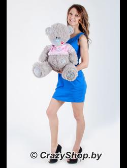 Тедди в розовой футболке 80 см