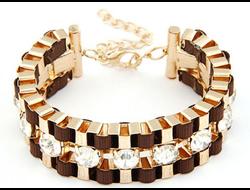 Изящный коричневый браслет с кристаллами Apodemia
