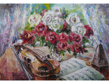 """Круглова Светлана. Скрипка Паганини"""",  холст / масло,  50 х 70 см.,  2016 г."""